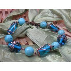 Glass beads + stone bracelet